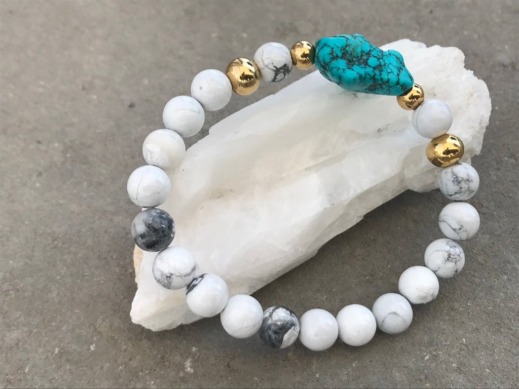 Howlite blanche & Howlite turquoise