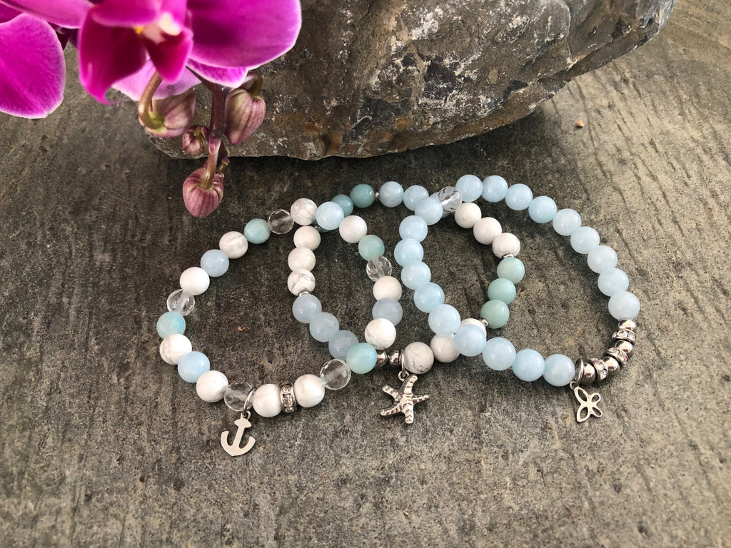 Trio - Aigue-marine, Amazonite facettée, Howlite & Quartz facettée