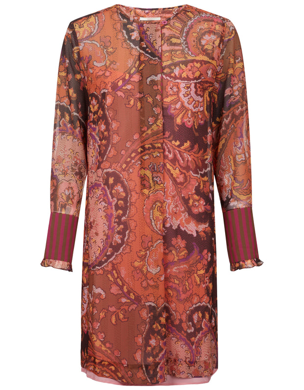 Damian dress fan paisley stitched 191624