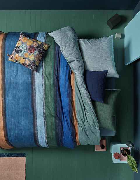 Duvet Cover Rustic Lines Blue Green-Oilily-140x200/60x70(1)-Oilily.com