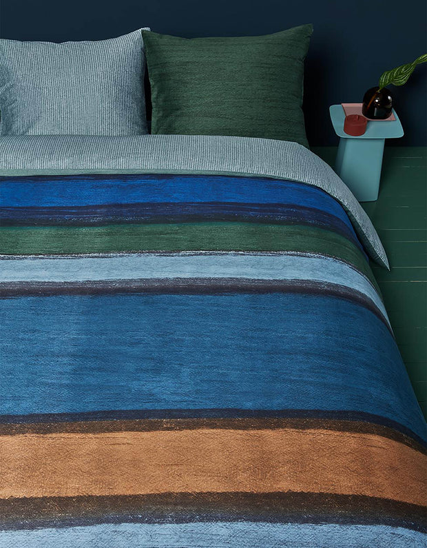 Duvet cover Rustic Lines Blue Green