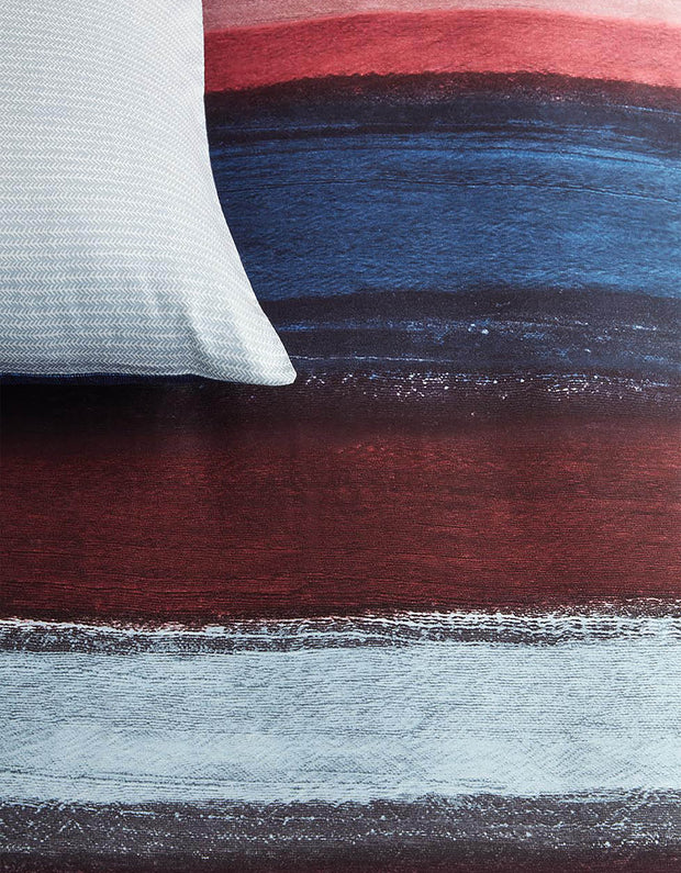 Duvet Cover Rustic Lines Dark Red-Oilily-140x200/60x70(1)-Oilily.com