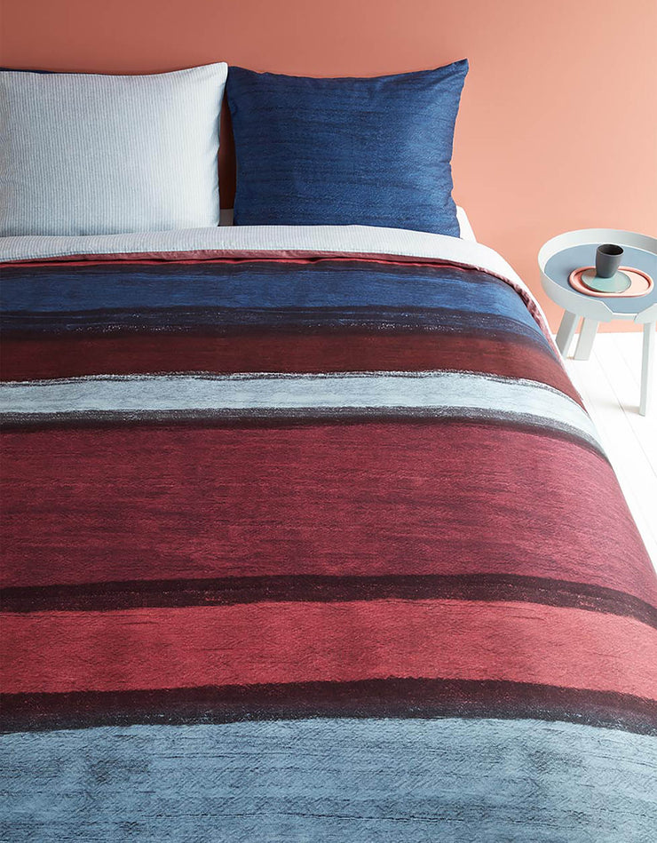 Duvet Cover Rustic Lines Dark Red