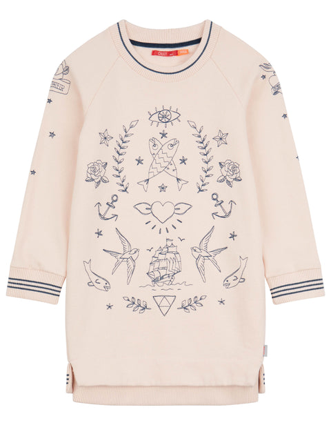 Pink sweat dress with embroidered tattoos-Oilily-92-Oilily.com