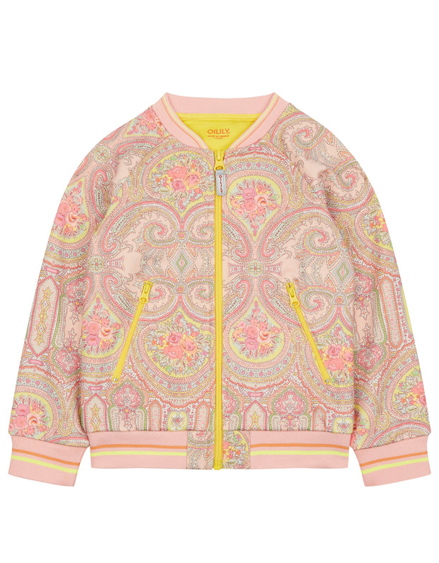 Hoek comfy pink sweat cardigan with paisley print