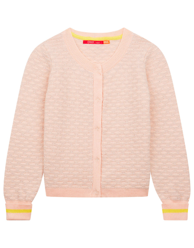 Kurkje ajour knitted pink cardigan with lurex in shell motif