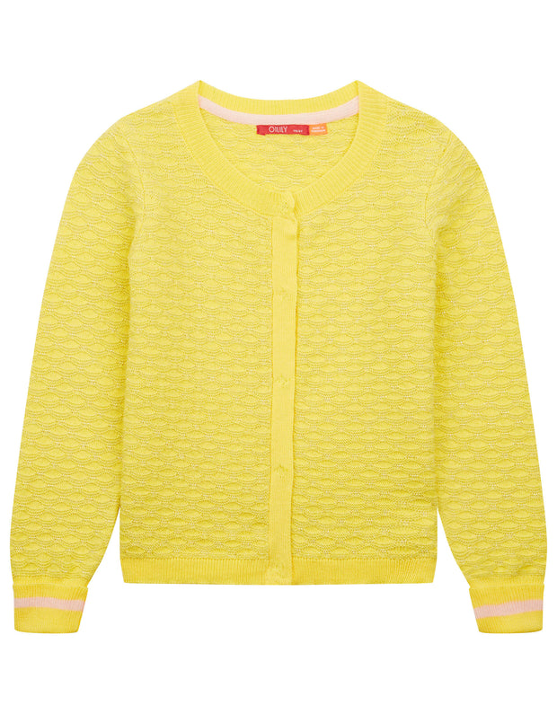 Kurkje ajour knitted yellow cardigan with lurex in shell motif