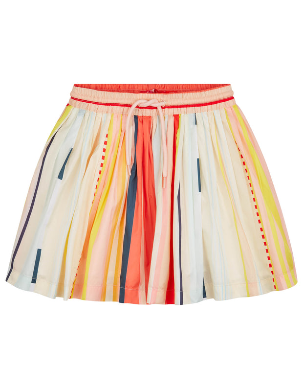 Surf pleated skirt with elastic waist and drawstring