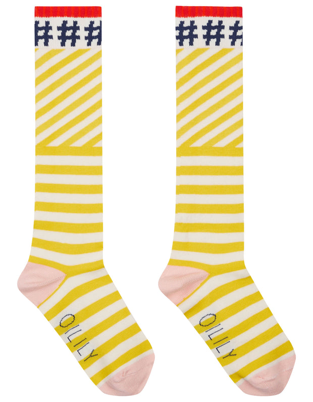 Mop super cool knee socks yellow with white stripe and #hashtags