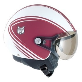 NEXX Vision 66 open face crash Helmet Colour: White/Burgundy (XS) CLEARANCE