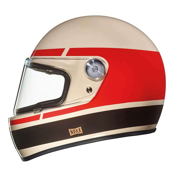 Nexx XG100 Motorcycle RACER RECORD Motorbike Crash Helmet - Cream/Red/Brown