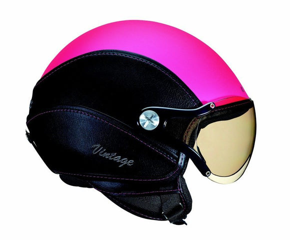 Nexx X60 Vintage Motorcycle Scooter Motorbike Pink Black Soft leather Open Face Crash Helmet -01x6020025