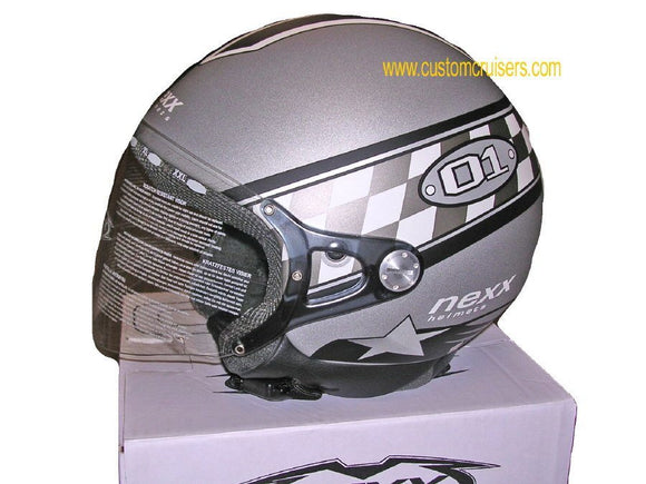 NEXX Pop O1 Style Helmet Colour: Grey/Black -CLEARANCE-(XS)