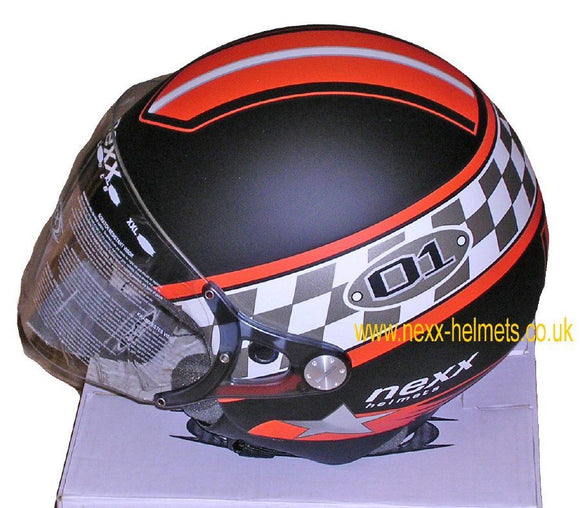 NEXX Pop O1 open face  motorcycle crash Helmet Colour: Black/Orange Size:_1022