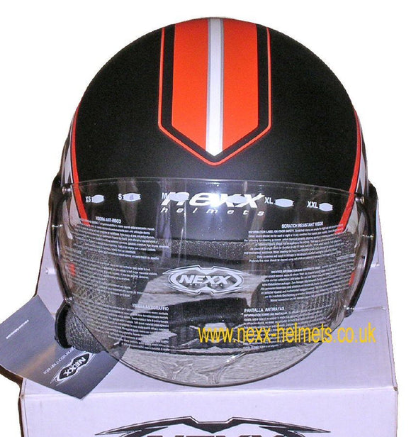 NEXX Helmets Pop O1 Style Helmet Colour: Black & Orange open face Jet Size:  1022s