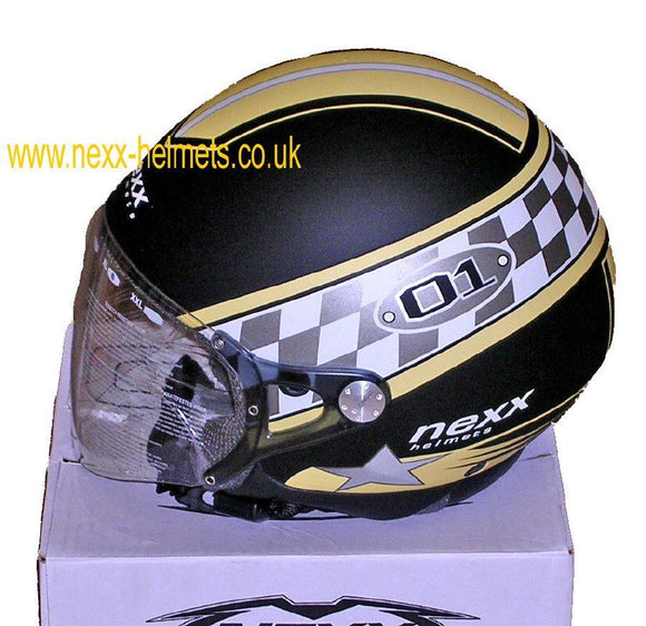 NEXX Pop O1 open face  motorcycle crash Helmet Colour: Black/Cream_1021xl