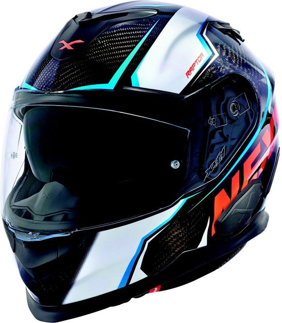 Nexx XT1 Raptor White Orange Motorcycle Helmet NEXX01XT123025 01xt123025