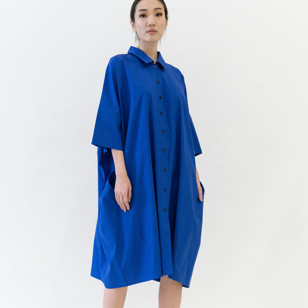 Canvas Olena Oversized Shirt Dress in Royal Blue
