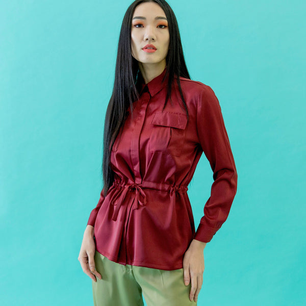 Canvas Audrey Safari Top in Red