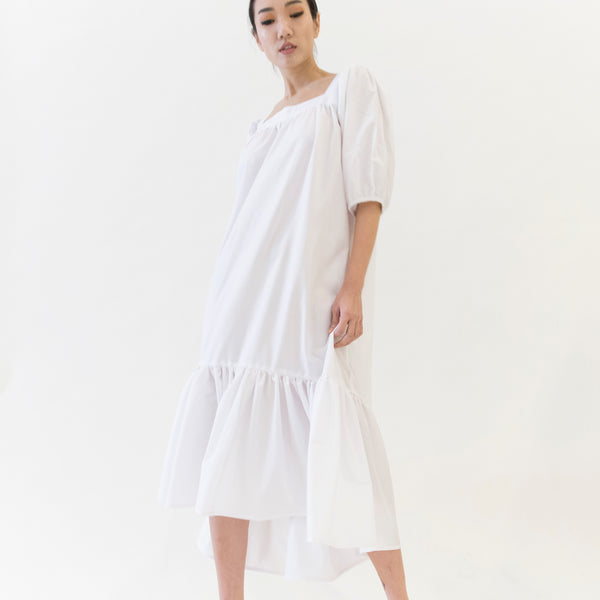 Canvas Orly Puffed Sleeve Dress in White