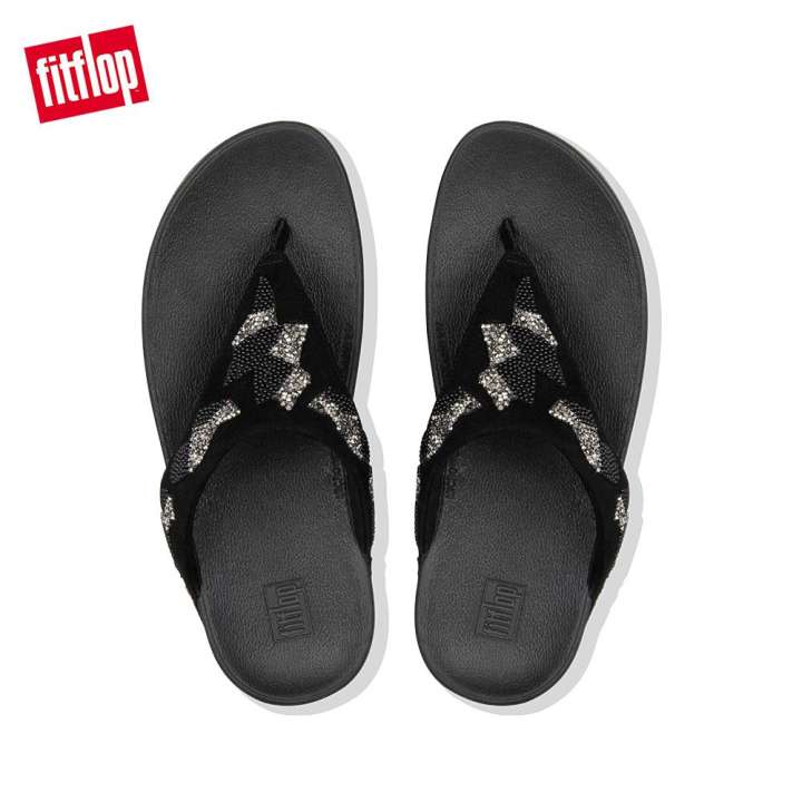 Fitflop Lottie Patchwork Toe-Thongs Black