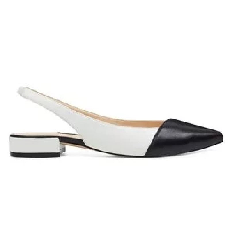 Nine West Forlove Pointy Toe Slingback Flats in black and white