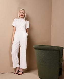 RAF Upper Short Sleeves Pantsuit in Off-White