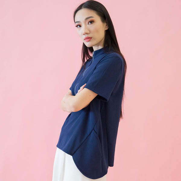 Canvas Adeline Zip-Collar Top in Navy