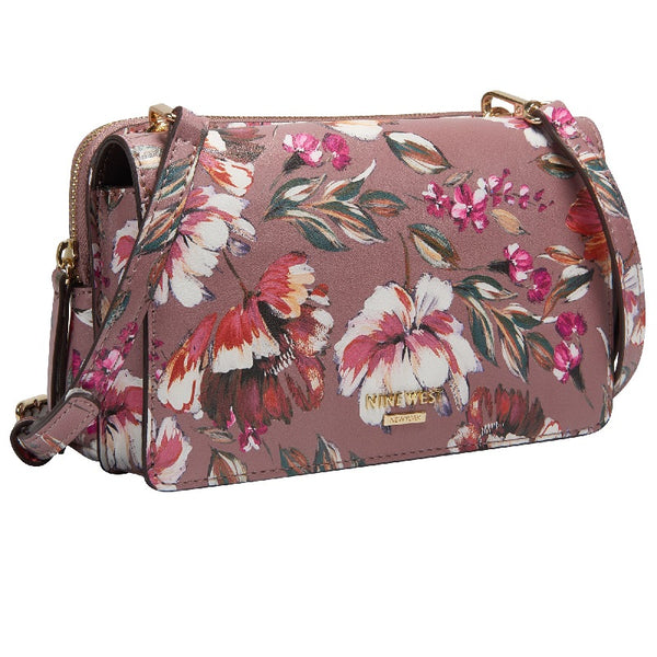 Nine West Knotted Up Crossbody Flap Organizer Floral Meadows