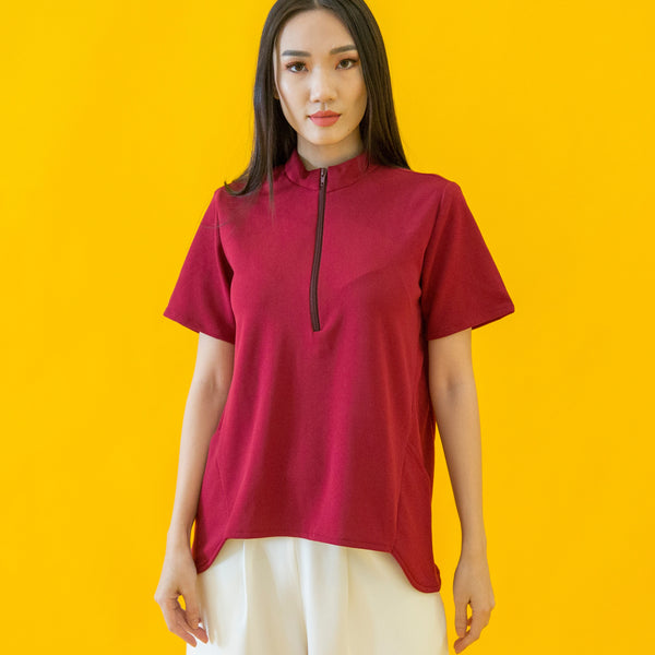 Canvas Adeline Zip-Collar Top in Deep Red