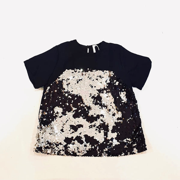 Canvas Natalie Sequin Top in Black