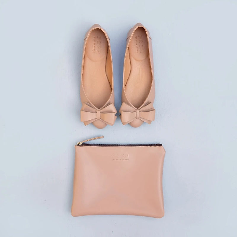 Posh Pocket Shoes Pointy Bow Blush