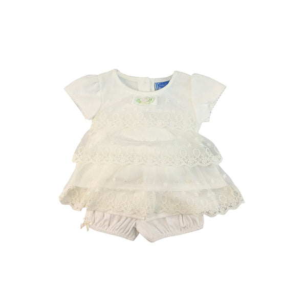 Infant's Plain White Mini Dress with Short set