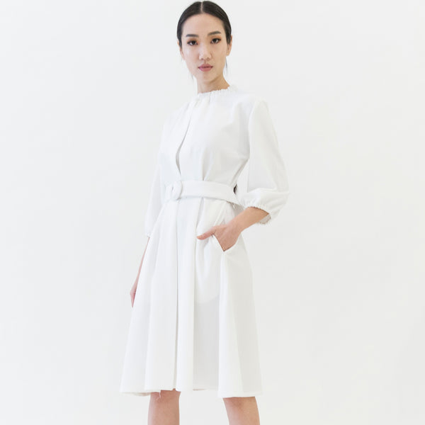 Canvas Orina Belted Dress in White