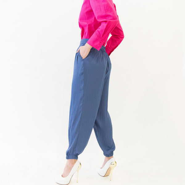 Canvas Oralee Washed Satin Joggers in Yale Blue