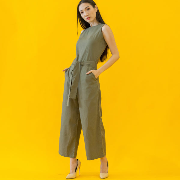 Canvas Arianna Jumpsuit in Army Green
