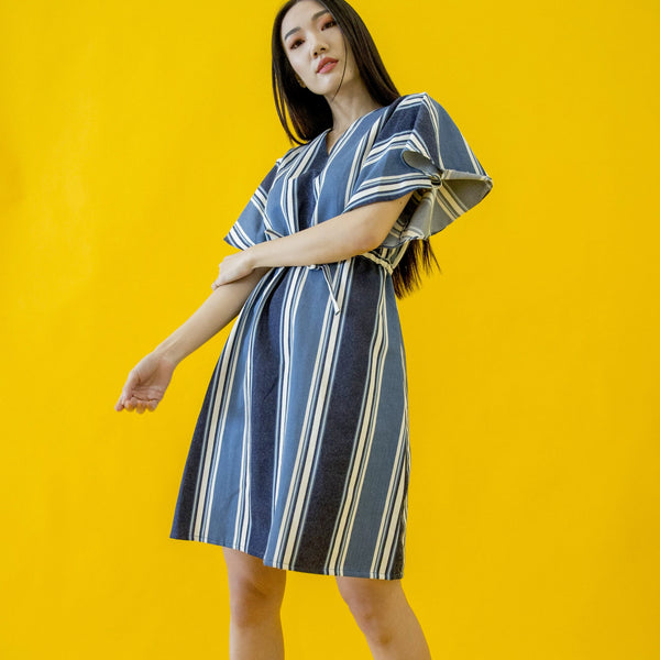 Canvas Agnes Dress in Blue Stripes