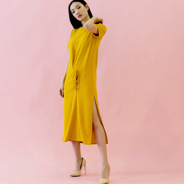 Canvas Alma T-Shirt Dress in Saffron Yellow