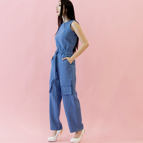 Canvas Amber Cargo Jumpsuit in Blue