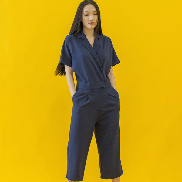 Canvas Amy Utility Jumpsuit in Navy
