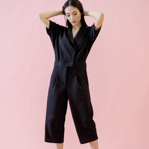 Canvas Amy Utility Jumpsuit in Black