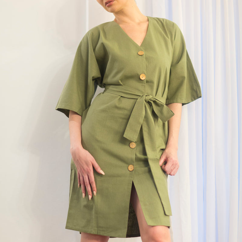 Canvas Bernise Dress in Olive
