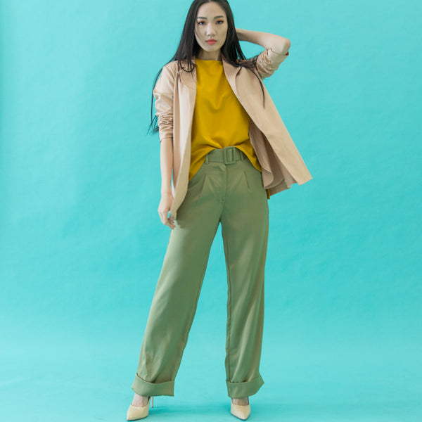 Canvas Amelia Silk Pants in Olive