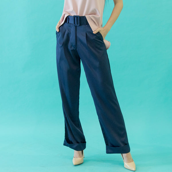 Canvas Amelia Silk Pants in Navy