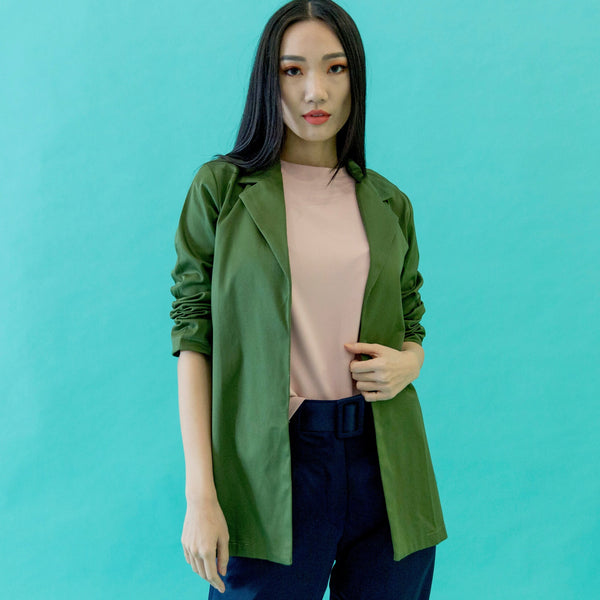 Canvas Adrianne Unlined Blazer in Olive