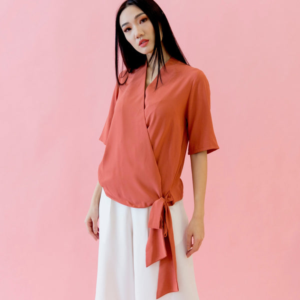 Canvas Alice Wrap Top in Coral