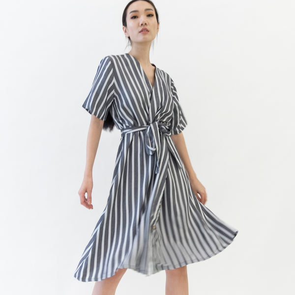 Canvas Olympia Stripe Dress in Gray