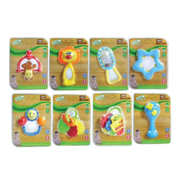 Baby Bliss Baby Rattle - Assorted Blister Pack