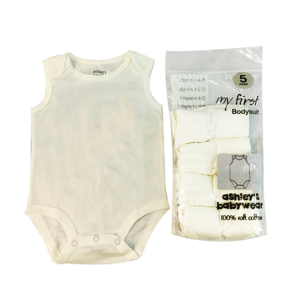 5-Piece Infant's White  Body Suit Pack