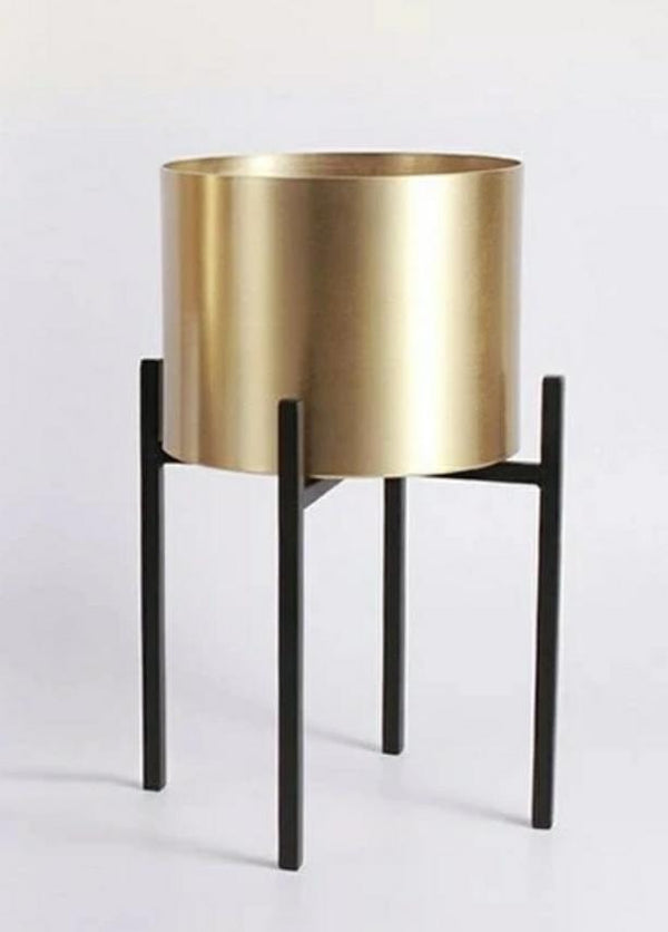 Brass Planter With Metal Stand